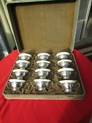 Rare Antique 12 Bullion Bowls By Frank Whiting Sterling Silver Lenox Porcelain