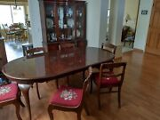 Antique Mahogany Dining Room Set- Table, 6 Chairs And Breakfront