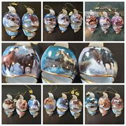 Bradford Free As The Wind Porcelain Ornaments Set Of 20 Mint Horses Christmas