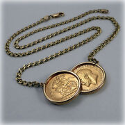 Genuine 1910/1911 Half-sovereign Coins On 18 Necklet Holly Willoughby Style