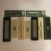 Vtg Cross Pens And Refils Lot 2 Nib Instructions Pouches 10 Kt Gf And Chrome Usa