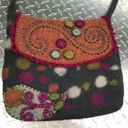 Shoulder Bag Rising Tide Grey Multi Colored Wool Abstract Floral Boho Purse