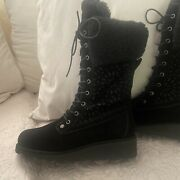 Bearpaw Women's Kylie Suede Perforated Boot W/ Neverwet Size 6 Black Wool Sherpa