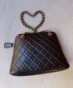 Authentic Lambskin Quilted Shopping Tote Handbag Bag Black Very Good