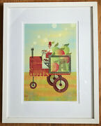 Mk Michael Mabry Apple Tractor Matted And Framed Signed Lithograph Aiga Graphics