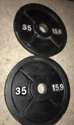 Pair Of Used Vintage 35 Lb Iron Olympic Weight Plates 70 Pounds Total Weights