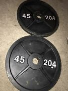 Pair Of Used Vintage 45 Lb Iron Olympic Weight Plates 90 Pounds Total Weights