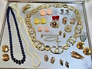 Vtg Estate Costume Jewelry Lot Brooches Necklaces Earrings Ect.