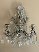 Pair Exquisite Antique Maison Bagues Crystal Beaded Flower French Wall Sconces