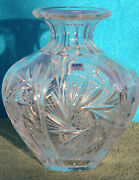 Vintage Acc 24 Lead Crystal Vase Hand Cut Made In Poland Large Heavy Exquisite