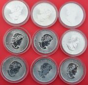Lot 9 Canadian Silver Maple Leaf 1 Oz. 999 5 2016 To 2019 Incuse And 30th Inc.