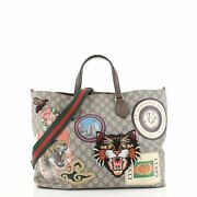 Courrier Convertible Soft Open Tote Gg Coated Canvas With Applique Large