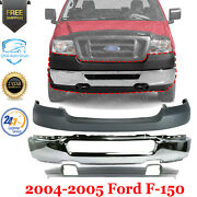 Front Bumper Chrome + Lower Valance + Upper Cover For 2004-2005 Ford F-150 4wd