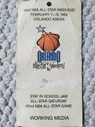 Authentic 1992 Nba All-star Weekend Working Media Pass Orlando Florida Used