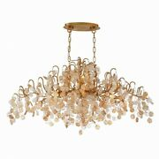 Transitional 10-light Oval Chandelier With Clear/amber Hand Pressed Glass - 20 X