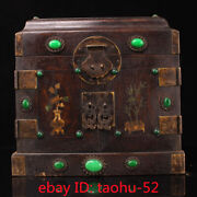 9.4exquisite Chinese Old Antique Handmade Inlaid Gem Shell Officer Box