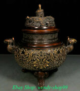 12 Marked Old Chinese Bronze Dynasty Dragon Phoenix Incense Burners Censer