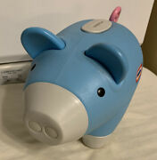 Vtg Little Tikes Classic Blue Pig Piggy Bank W/plastic Stopper Curly Pink Tail