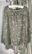 New Plus Size 3x Green Blouse Pink Floral Peasant Top Tie Shirt
