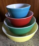 Vintage Pyrex Glass Mixing Bowl Set Primary Color Nesting Bowls 4pc Must See