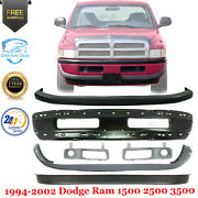 Front Bumper Painted Black + Covers Kit For 1994-2002 Dodge Ram 1500 2500 3500