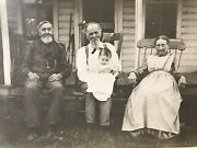 Antique Photo Postcard Rppc Family In Rocking Chairs Porch Unposted H
