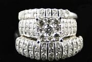 Diamond Wedding Sets Yellow Gold Fn Trio His Her Bridal Band Engagement Ring