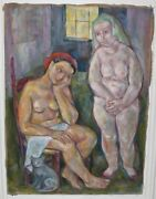 Emanuel Romano Glicen Mother And Beatrice Rare 1943 Burlap Canvas Oil Painting