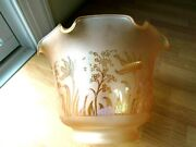 Antique Etched Two Glass Shades Gaslight Banquet Oil Lamp 3 7/8 Fitter