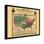 1856 United States Map - Framed Vintage Map Of Usa Wall Art Poster Print