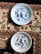Two Chinese Ming Blue And White Swatow Charger With Fish 16/17th C 8andrdquo