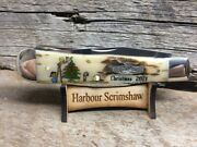 Case Limited Ed Christmas Knife W Original Scrimshaw By Harbour Of Snoopy And Tree
