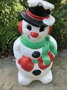 """Vintage Grand Venture Snowman Christmas Green Scarf Lighted Blow Mold 30"""""""