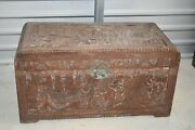 Ex Large Antique Chinese Camphor Wood Carved Chest / Trunk / Box
