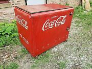 Coke Cola Ice Chest Vintage Commercial Soda Cooler Box Folding Lid And Compressor