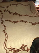 """Cutter Yellow/brown Chenille 90"""" X 92"""" Approx Bedspread"""