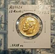 Russia 1897r 15 Roubles, 1 Year Issue. Gold Coin 0.3734 Oz