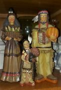 Vintage Native American Family Thanksgiving Harvest Hand Carved Figurines