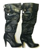 Jessica Simpson Women's Ruched Tall Heel Black Leather Look Boots Size 7 1/2 B