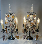 Antique Pair Of French Crystal Lights 4 Arms Lusters Girandole