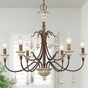 Log Barn Farmhouse Chandelier For Dining Room 6-light French Country Lighting...