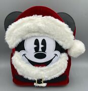 Nwt Loungefly X Disney Parks Santa Mickey Mouse Mini Backpack Actual Bag