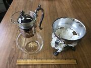 Vintage F.b Rogers Silver Plated And Glass Coffee Carafe W/ Warmer Stand And Lid