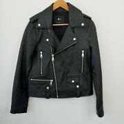 7 For All Mankind Black Genuine Leather Moto Jacket Size Medium New With Tags
