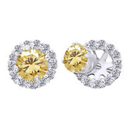 10k White Gold 2.5 Ct Golden Moissanite Prong Studs And Earrings Halo Jackets