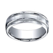 7.5mm Comfort Fit Satin Finish Rope Carved 18kwhite Gold Band Ring Sz 10