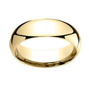 14k Yellow Gold 7mm Slightly Domed Super Light Comfort Fit Band Ring Sz 9