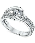 7/8 Ctw Diamond Two-row Engagement Ring In 14k White Gold Holiday Sale