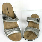 Romika Womens Slip On Sandals Adjustable Silver Pewter Size 42 Us 11
