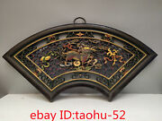 """20.4""""collecting Chinese Antiques Old Camphor Wood Lacquer Ware Unicorn Screen"""
